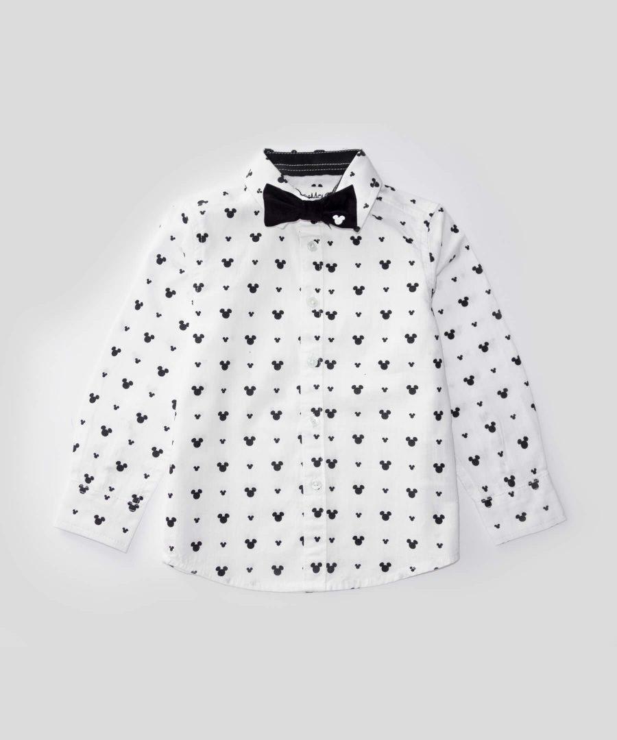 детска риза мики маус от лен с папионка