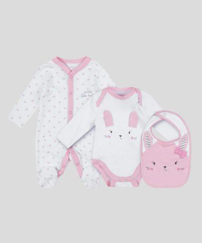 Подаръчен комплект дрешки от био памук за новородено бебе момиче