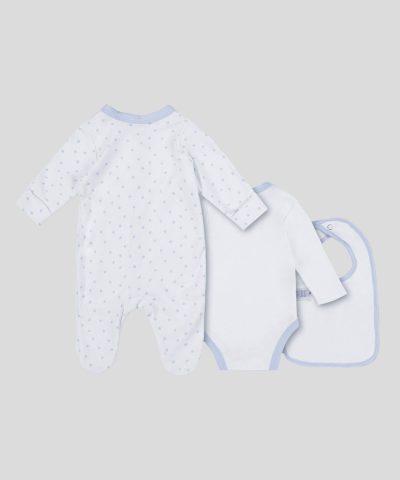Подаръчен комплект дрешки от био памук за новородено бебе момче