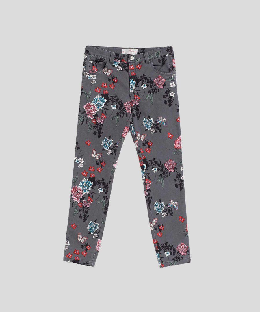 еластичен панталон с цветя