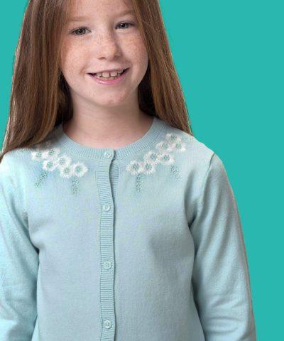 Детска жилетка в цвят мента за момиче