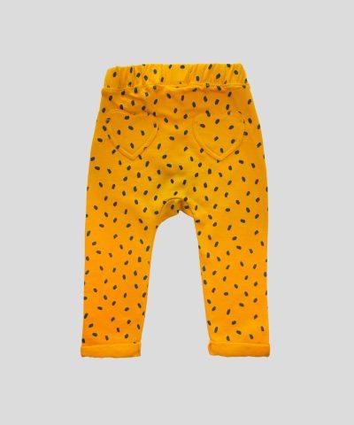 Бебешки и детски спортен панталон в цвят горчица от био памук