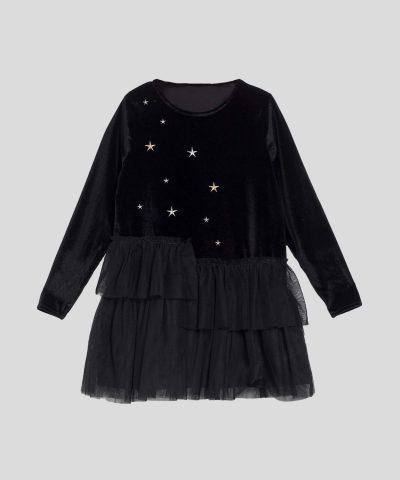 Плюшена рокля с тюл в черен цвят