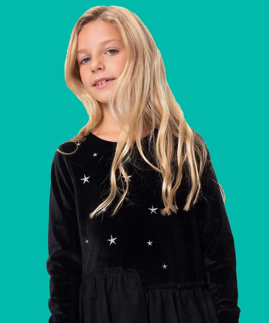 Черна рокля с дълъг ръкав от плюш и тюл