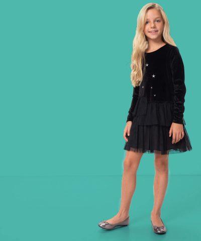 Детска рокля с дълъг ръкав от черен плюш