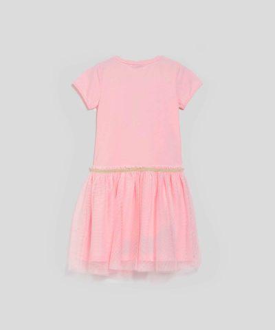 Детска рокля с къс ръкав в розов цвят със зайче