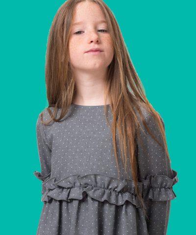 Сива рокля с дълъг ръкав за дете