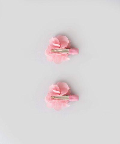 бебешки и детски Комплект 2бр. шноли за коса с апликация розово цвете