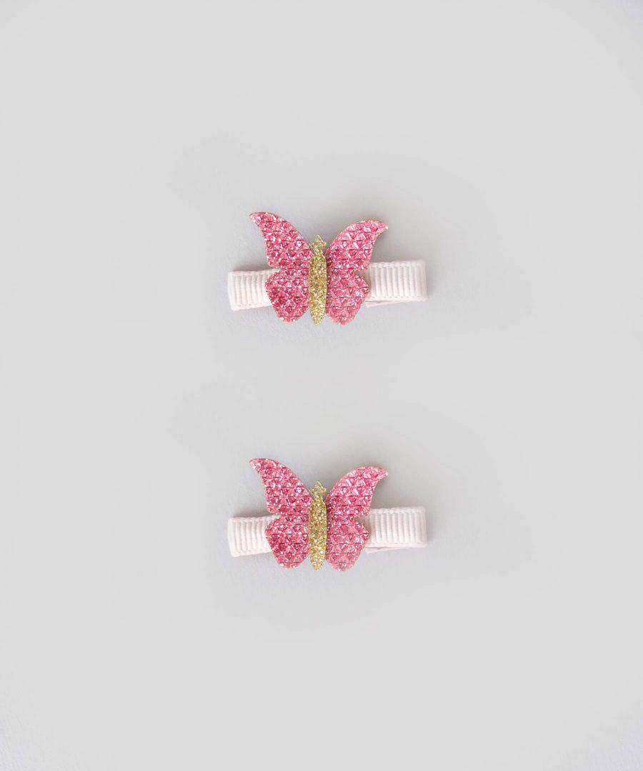 бебешки и детски Комплект 2бр. шноли за коса с апликация - пеперуда