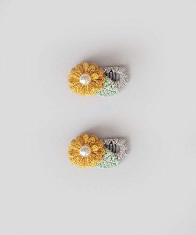 бебешки и детски Комплект 2бр. шноли за коса - жълто цвете с перличка