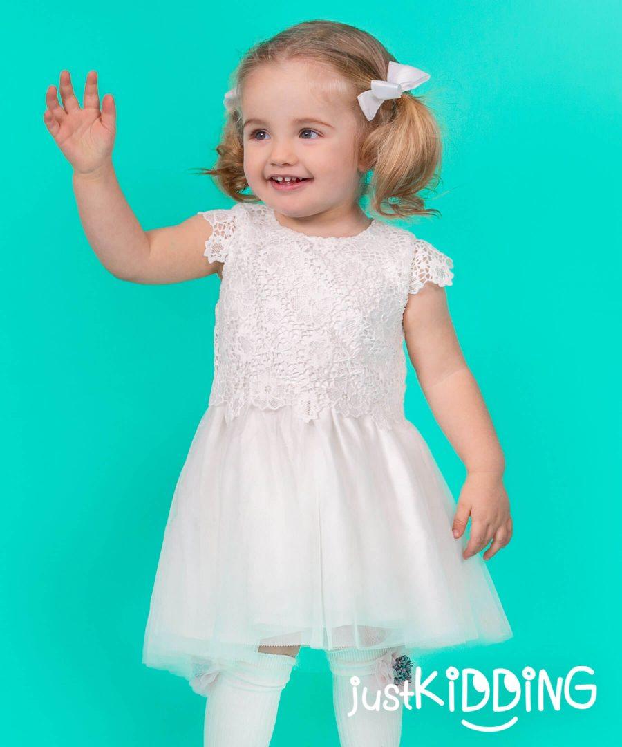 бебешка и детска рокля с дантела в бял цвят
