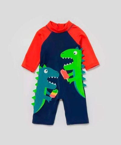 Бански с динозаври и слънцезащита