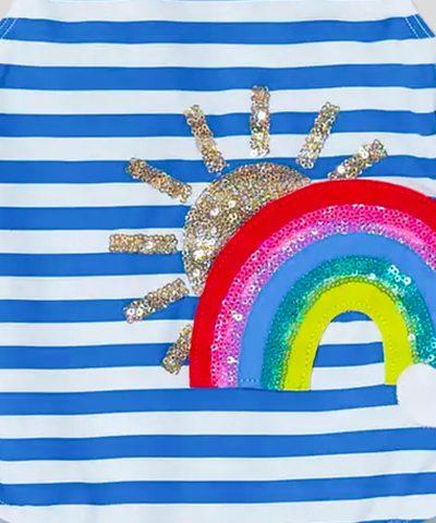 Детски бански бяло и синьо райе с цветна апликация от пайети