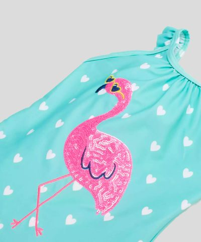 Детски бански в цвят тюркоаз с апликация от пайети розово фламинго