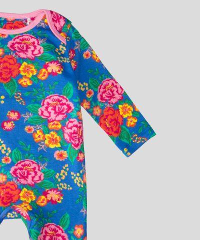 бебешки гащеризон с цветя в син цвят