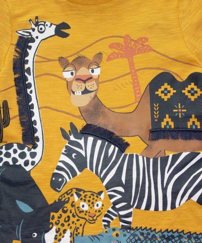 Детска тениска с камила, зебра, жираф, носорог, хипопотам, крокодил и леопард от био памук