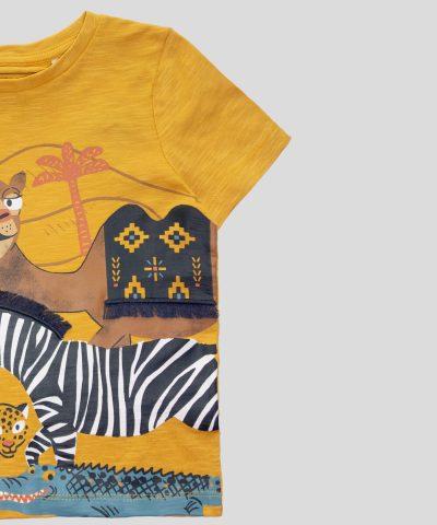 Тениска с животни за момче от отганичен памук