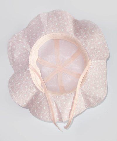 Детска шапка за слънце с периферия в розов цвят от 100% памук