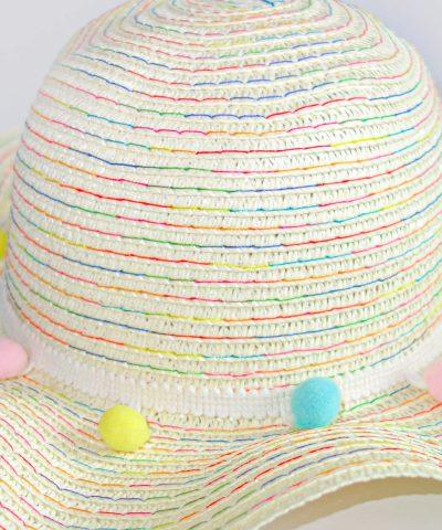Детска шапка за слънце с периферия от слама