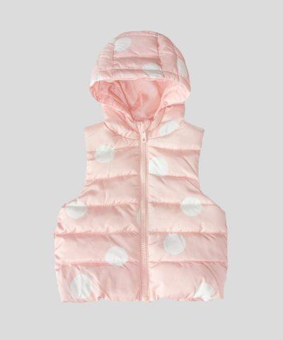 елек с качулка в розов цвят