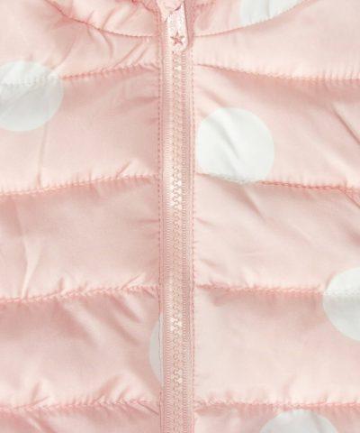 бебешки елек с качулка в розов цвят за момиче
