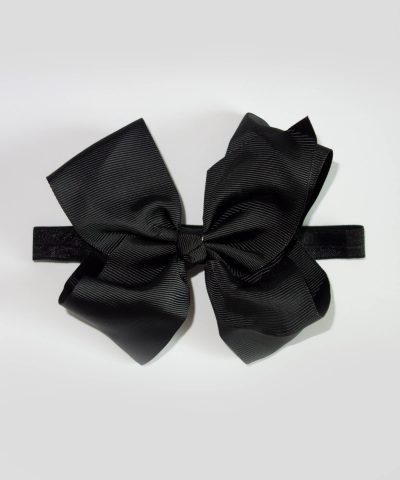 бебешка и детска лента за коса с голяма панделка в черен цвят