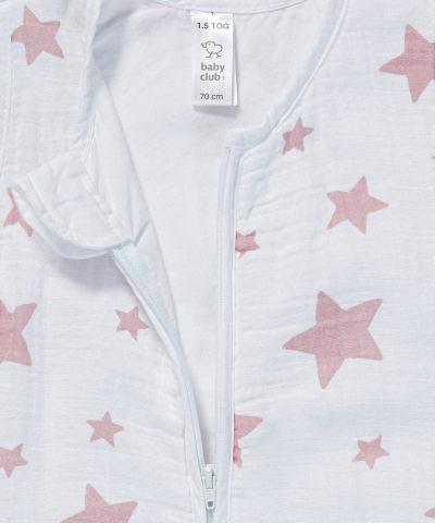 Бебешки летен спален чувал от био памук с розови звездички от тензух 1.5тог