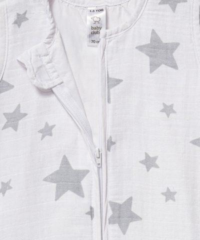 Бебешки летен спален чувал от био памук със сиви звездички от тензух 1.5тог