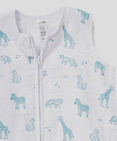 Бебешки летен спален чувал от био памук сафари от тензух 1.5тог