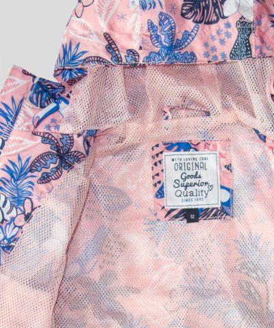 Детско тънко водоустойчиво яке в розов цвят за момичета