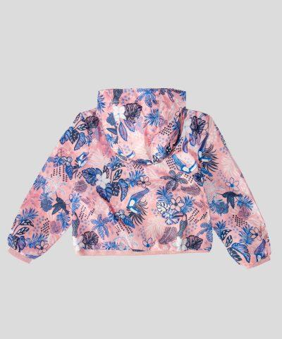 Детско тънко яке за дъжд в розов цвят с цветен принт