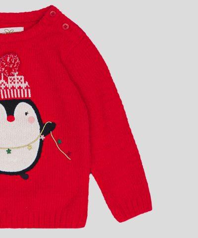 Бебешки Коледен пуловер с пингвинче