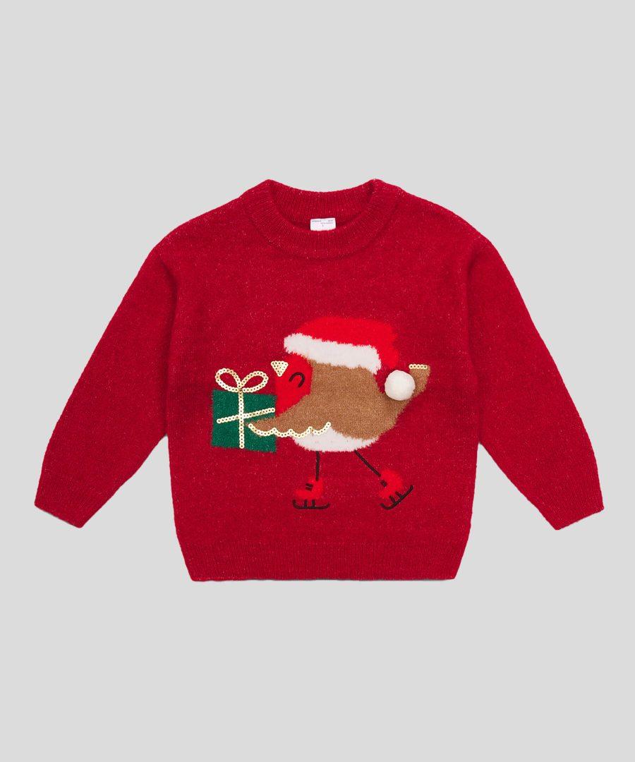 Коледен пуловер с птичка