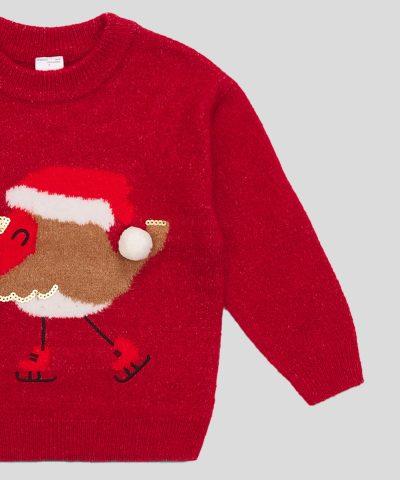 Коледен пуловер с птичка за деца
