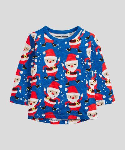 Бебешка и детска Коледна блуза в син цвят