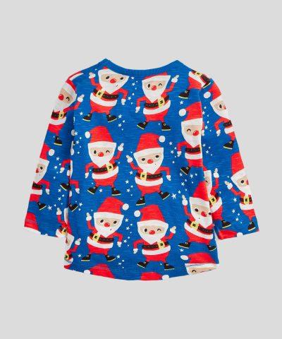 Бебешка и детска Коледна блуза в син цвят от 100% памук