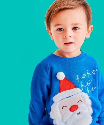 бебешка и детска Коледна ватирана блуза в син цвят