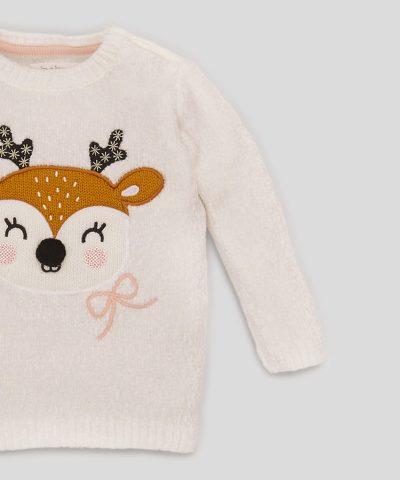 пуловер с еленче в бял цвят за момиче