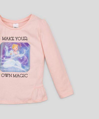Детска 3D блуза Disney Princess от био памук с дълъг ръкав