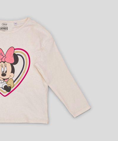 Детска блуза Мини Маус от био памук в основен цвят екрю