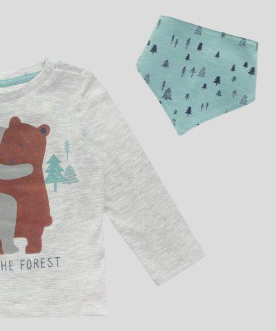 Бебешка блуза с бандана Love the Forest за момче