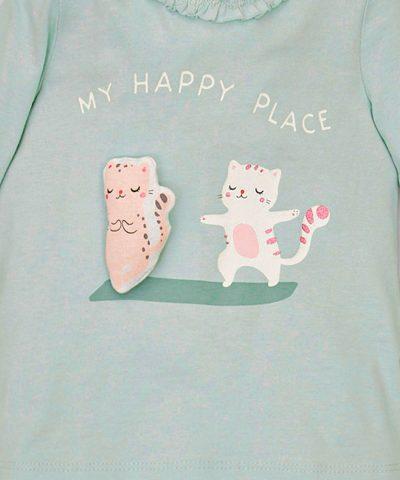 Бебешка блуза с котета от био памук с дълъг ръкав