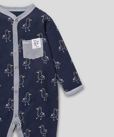 Бебешки гащеризон с чайки от био памук за момче
