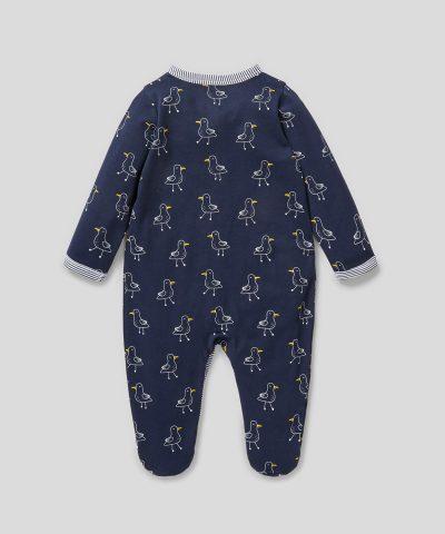 Ромпър с принт чайки от био памук за бебе момче