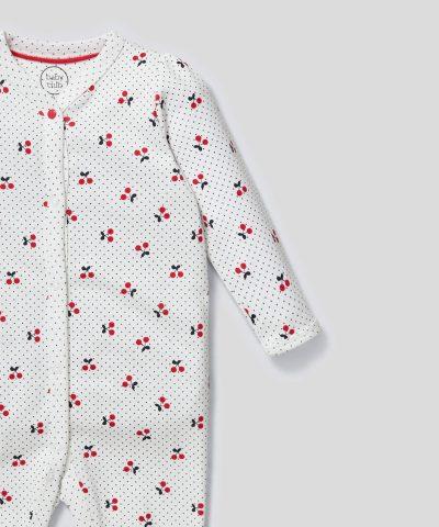 Ромпър с принт черешки от био памук за бебе момиче