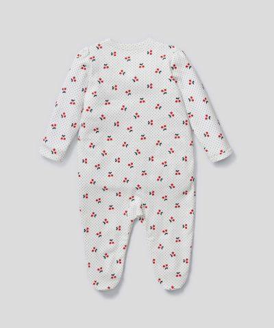 Бебешки гащеризон с черешки от био памук за момиче
