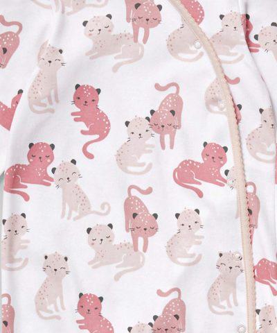 Ромпър с принт котета от био памук за бебе момиче