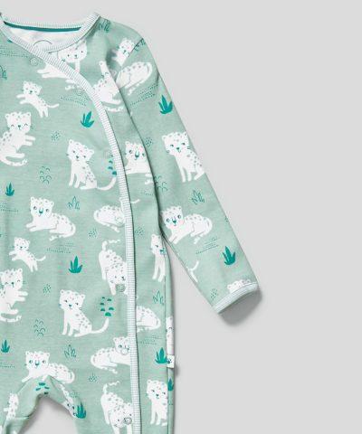 Ромпър с принт леопарди от био памук за бебета