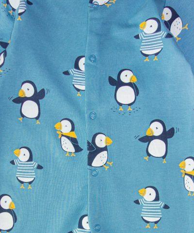 Ромпър с принт пингвини от био памук за бебе момче