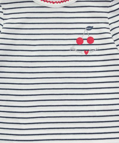Момичешки комплект блузи с черешки от био памук